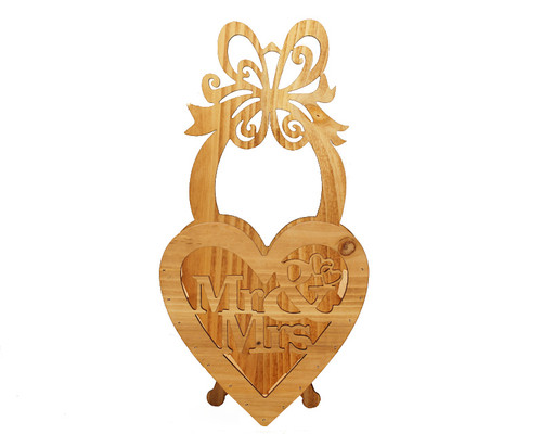 "11.5"" x 6"" Brown Wood Laser-Cut Mr & Mrs Wedding Decoration - 1 Centerpiece"