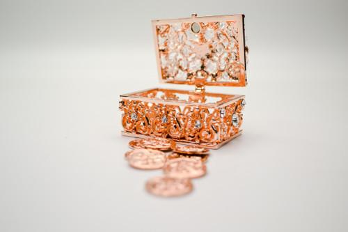 "2.5"" Rose Gold Rectangle Crystal Wedding Arras Set"