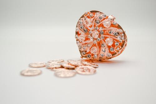 "2.5"" Rose Gold Heart Crystal Wedding Arras Box Set"