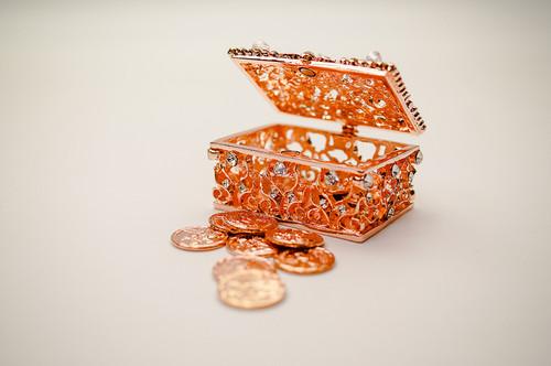 "2.25"" Rose Gold Rectangle Crystal Studded Wedding Arras Box Set"