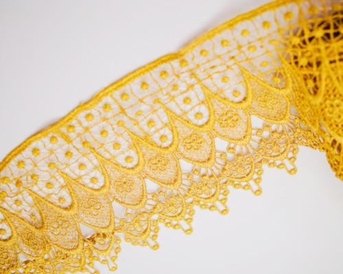 """5"""" x 15 Yards Gold Wholesale Venice Lace Trims - Venise Lace Wholesale"""