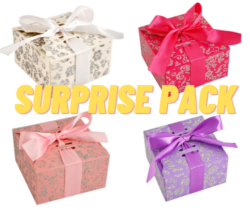 SURPRISE PACK Mixed Glitter Candy Favor Party Box with Satin Ribbon - 500 Pieces