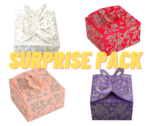 SURPRISE PACK Mixed Glitter Candy Favor Party Box with 3D Butterfly Top - 500 Pieces