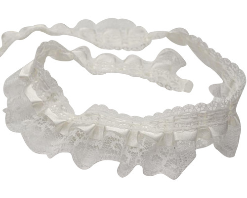 """1"""" x 50 Yards All Ivory Ruffled Lace Trim"""
