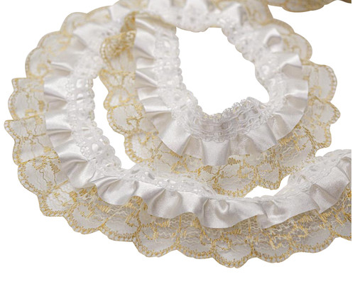 "2"" x 50 Yards Gold-White Ruffled Lace Trim"