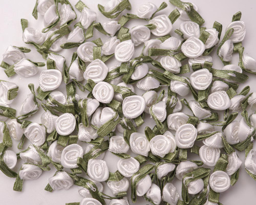 """1/2"""" White Mini Satin Ribbon Rose with Leaf Applique - Pack of 288"""