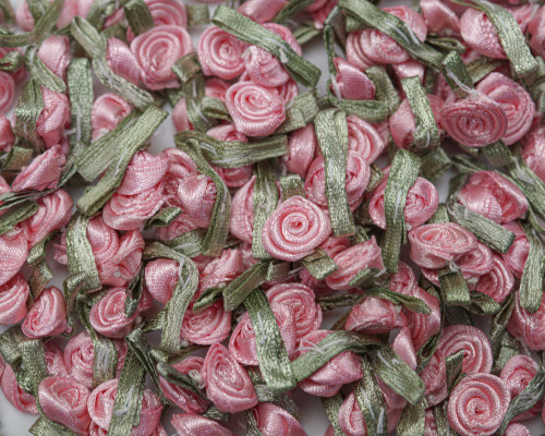 """1/2"""" Dusty Rose Mini Satin Ribbon Rose with Leaf Applique - Pack of 288"""