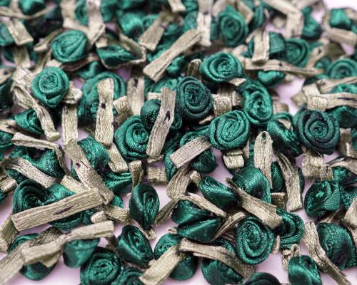"1/2"" Hunter Green Rose Mini Satin Ribbon Rose with Leaf Applique - Pack of 288"