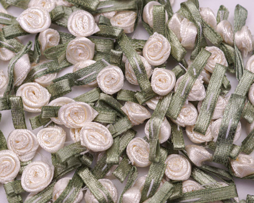"""1/2"""" Ivory Mini Satin Ribbon Rose with Leaf Applique - Pack of 288"""