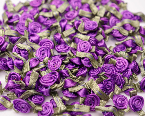 """1/2"""" Purple Mini Satin Ribbon Rose with Leaf Applique - Pack of 288"""
