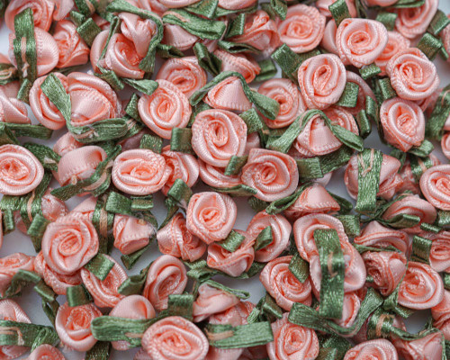 """1/2"""" Coral Mini Satin Ribbon Rose with Leaf Applique - Pack of 288"""