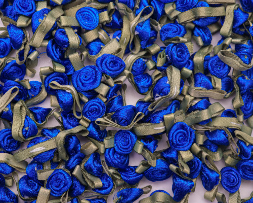 "1/2"" Royal Blue Mini Satin Ribbon Rose with Leaf Applique - Pack of 288"