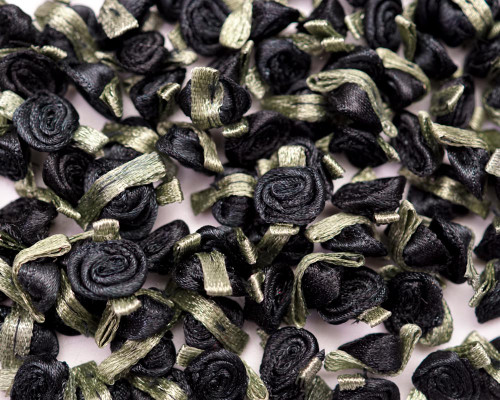 "1/2"" Black Mini Satin Ribbon Rose with Leaf Applique - Pack of 288"