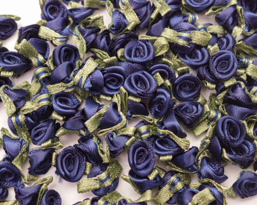 """1/2"""" Navy Blue Mini Satin Ribbon Rose with Leaf Applique - Pack of 288"""