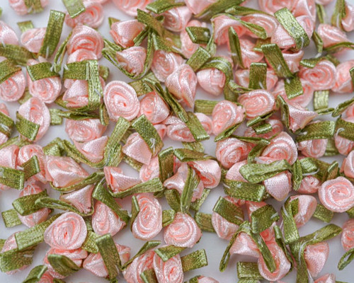 """1/2"""" Peach  Mini Satin Ribbon Rose with Leaf Applique - Pack of 288"""