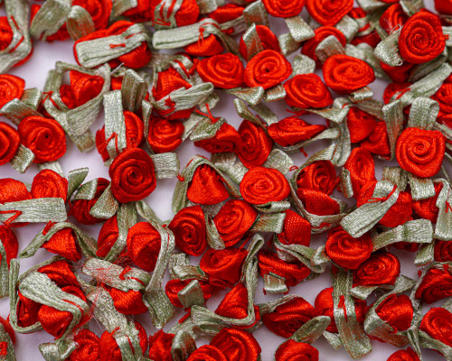 """1/2"""" Red Mini Satin Ribbon Rose with Leaf Applique - Pack of 288"""