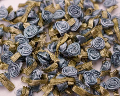 "1/2"" Antique Blue Mini Satin Ribbon Rose with Leaf Applique - Pack of 288"