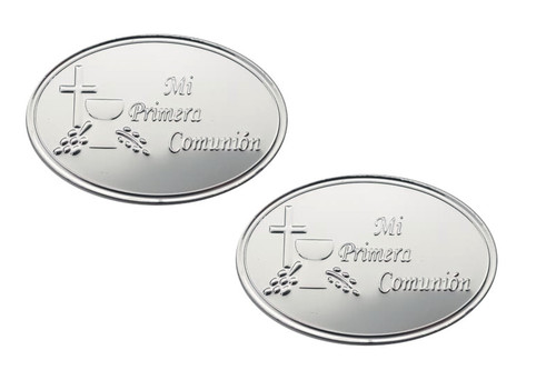 Mi Primera Comunion Silver Embossed Aluminum Foil Label  - Pack of 100 Non-Adhesive Communion Stickers