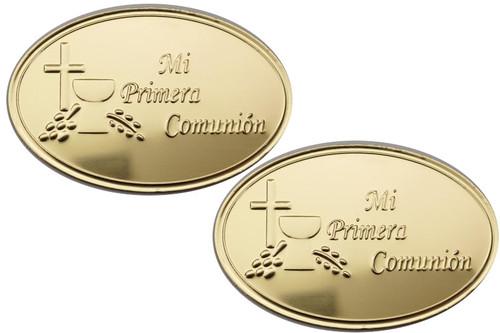 Mi Primera Comunion Gold Embossed Aluminum Foil Label - Pack of 100 Non-Adhesive Communion Stickers