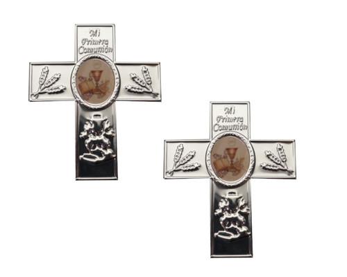 Mi Primera Comunion Silver Embossed Crucifix Foil Label  - Pack of 100 Non-Adhesive Cross Stickers