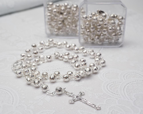 """23"""" Silver Filigree Metal Ball Rosary Gift Box Favor - Pack of 12"""