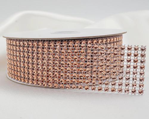 """1.5"""" x 10 Yards Rose Gold Diamond Mesh Ribbon - 5 Rolls of Rhinestone Bling Ribbon"""