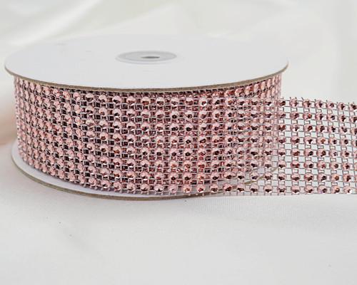 """1.5"""" x 10 Yards Blush Diamond Mesh Ribbon - 5 Rolls of Rhinestone Bling Ribbon"""