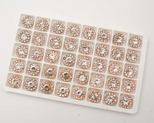 11mm Rose Gold Metal Rhinestone Flat Back Buttons - Pack of 200 Pieces