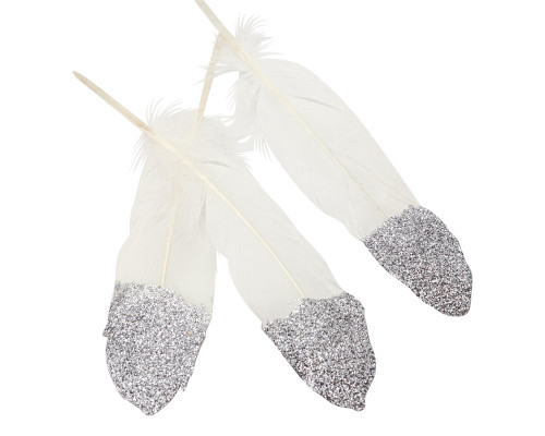 """6-7"""" Silver Glitter Dipped Natural Craft Feathers  - Pack of 120 Loose Feathers"""