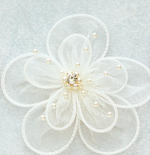 1 bunch 1.5 Ivory Organza Rhinestone Flower 6 flowers