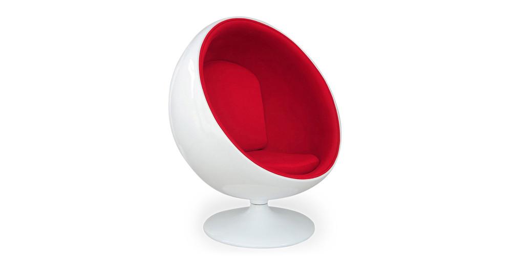 Ball Chair, White/Red