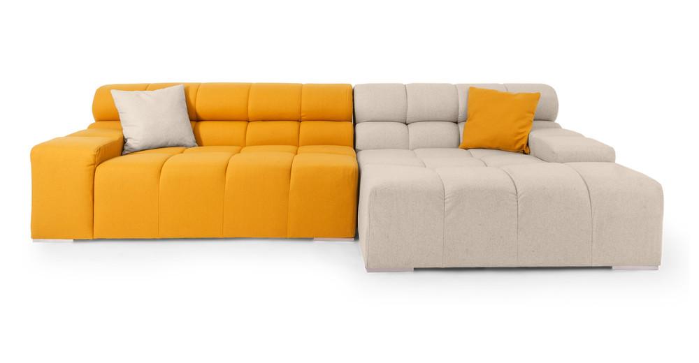 Cubix Sofa Sectional Right, Heather White/Sunrise