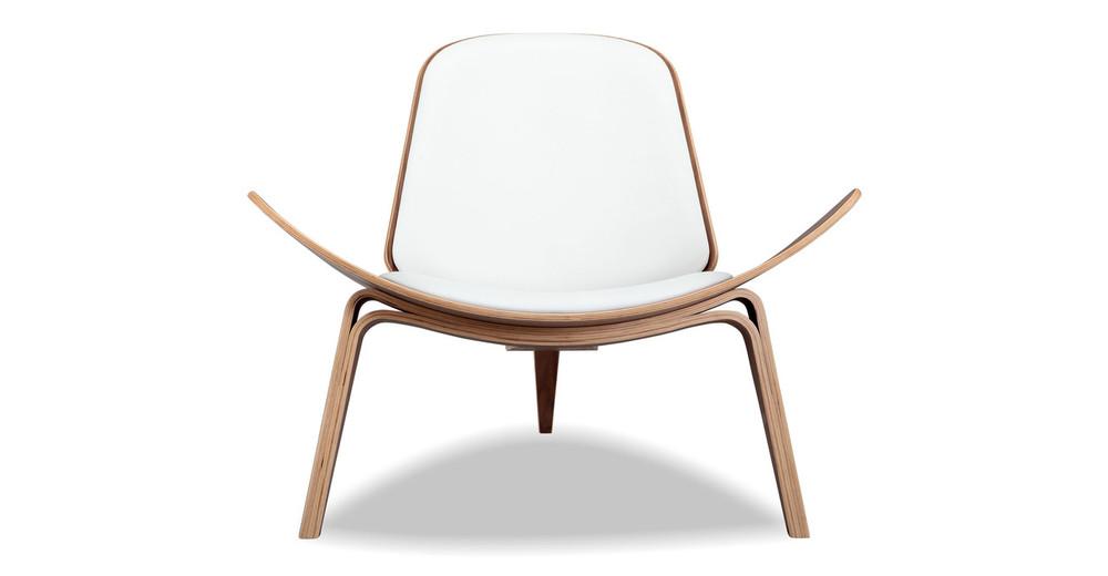 Tripod Chair, White Italian Leather/Walnut