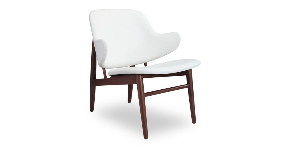 Larsen Shell Chair, White Italian Leather/Walnut