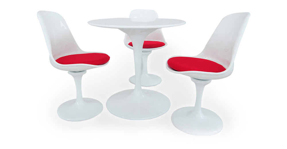 """Tulip Dining Set, 32"""" Table & 3 Side Chairs, Red"""