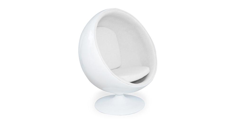 Ball Chair, White/White Leatherette