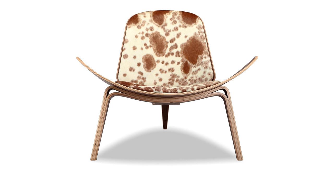 Sensational Tripod Chair Brown White Cowhide Walnut Squirreltailoven Fun Painted Chair Ideas Images Squirreltailovenorg