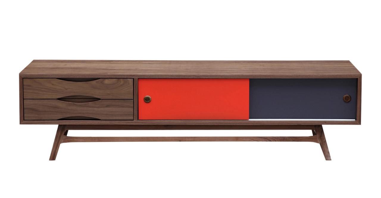 Color Pop Media Cabinet Walnut Orange Charcoal 70 8