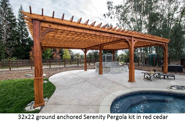 ground-anchored-pergola-western-red-cedar-wood-32x22. - Pergola Kits USA.com