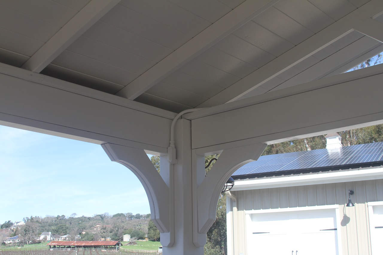 Post corner detail for 12x20 pressure treated pine patio cover kit. Napa, CA.