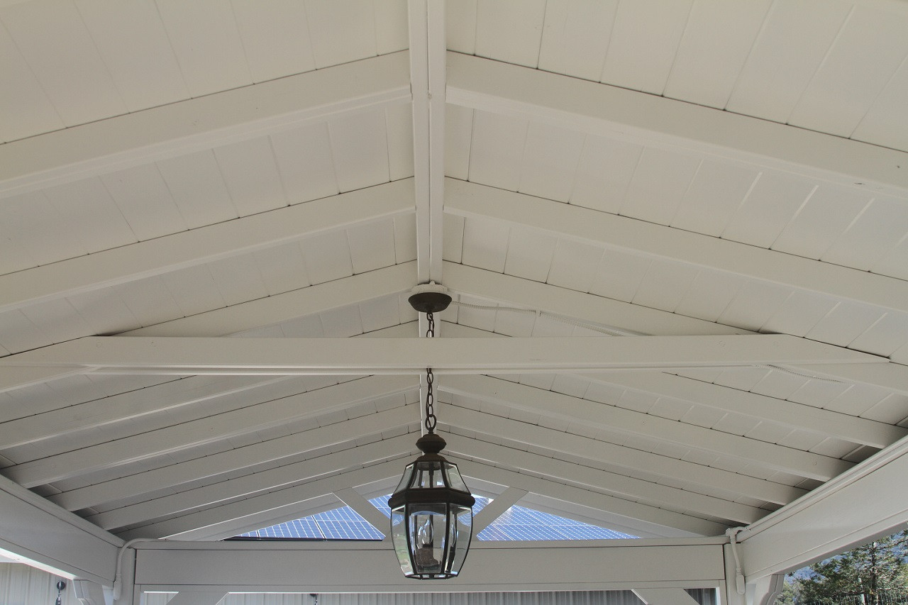Ceiling detail including collar tie, ridge beam and header beams on 12x20 pressure treated pine pavilion. Napa, CA