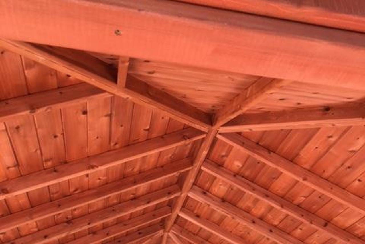 Cedar Color stain & sealant on underside of roof, 12x18 Pavilion, Western Red Cedar wood. Simi Valley, CA.