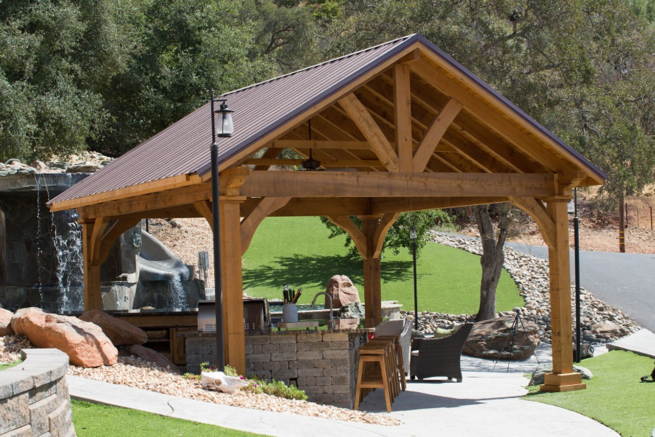 40 year metal panel roof, Burgandy Color option. Northern California wood pavilion kit.