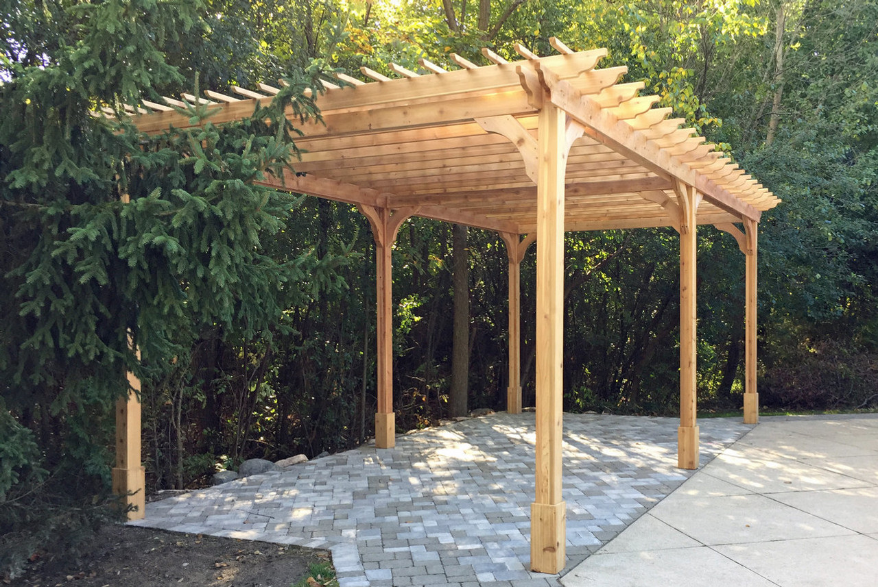 "24' x 12' Classic Red Cedar Pergola Kit / Extra 2 x 2 purlins for 8"" spacing / Stainless steeling mounting hardware / 10' posts (6) / Troy, MI."