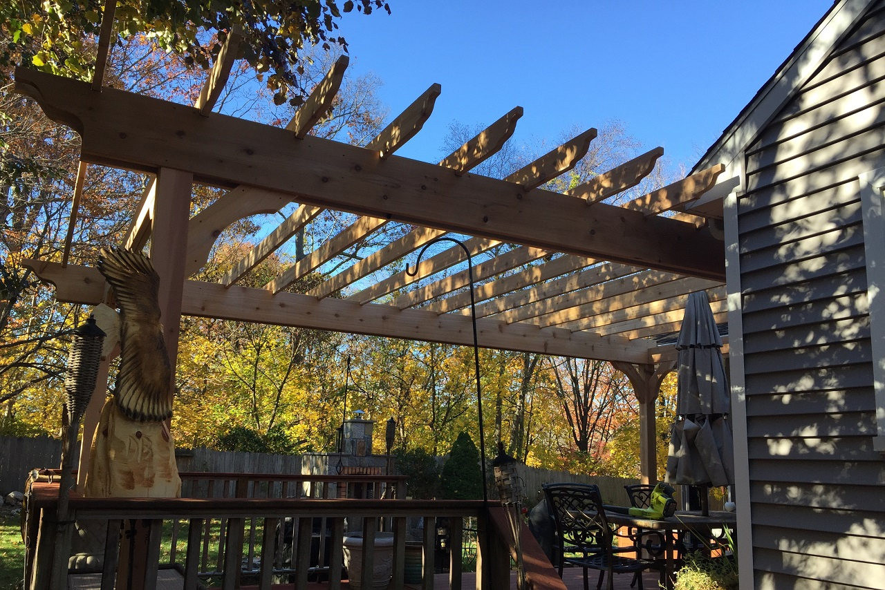"20' x 13' Classic Red Cedar Pergola Kit / 2"" x 12"" beams / no top runners / Stamford, CT."