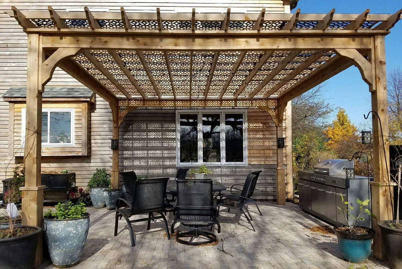Serenity Pergola Kit 14' x 14' / Western Red Cedar / Customer supplied their own lattice roof / Elburn, IL.