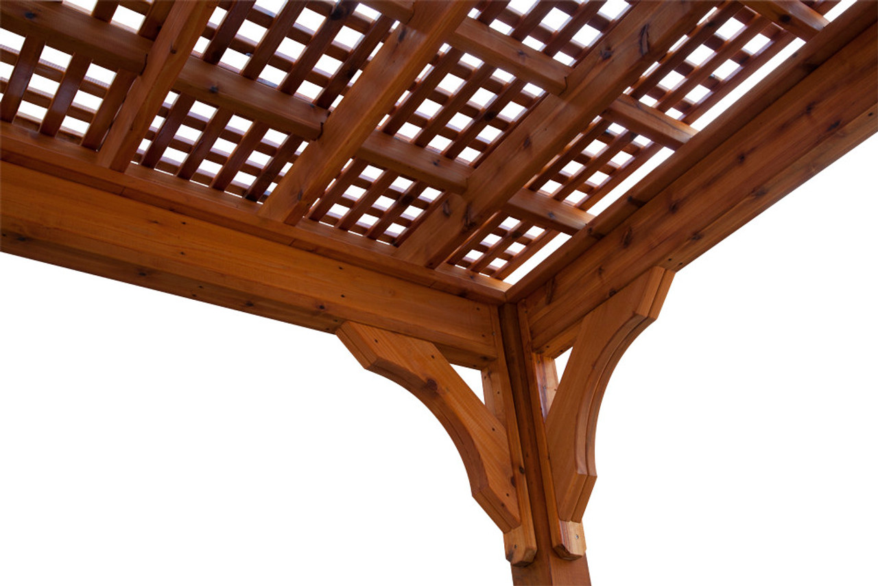 "Lattice Roof Option, featuring 1"" x 2"" red cedar runners arranged in a cross-hatch pattern. Sealed and stained as an option."
