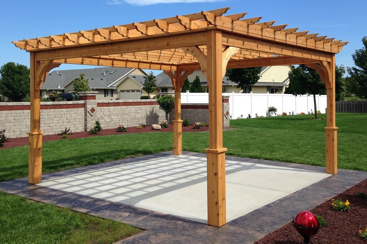 "13'-11 1/2"" x 13'-11 1/2"" (post-to-post outside) Serenity Red Cedar Pergola Kit / Western Red Cedar / Clear sealant / Stainless steel hardware / Kenosha, WI."