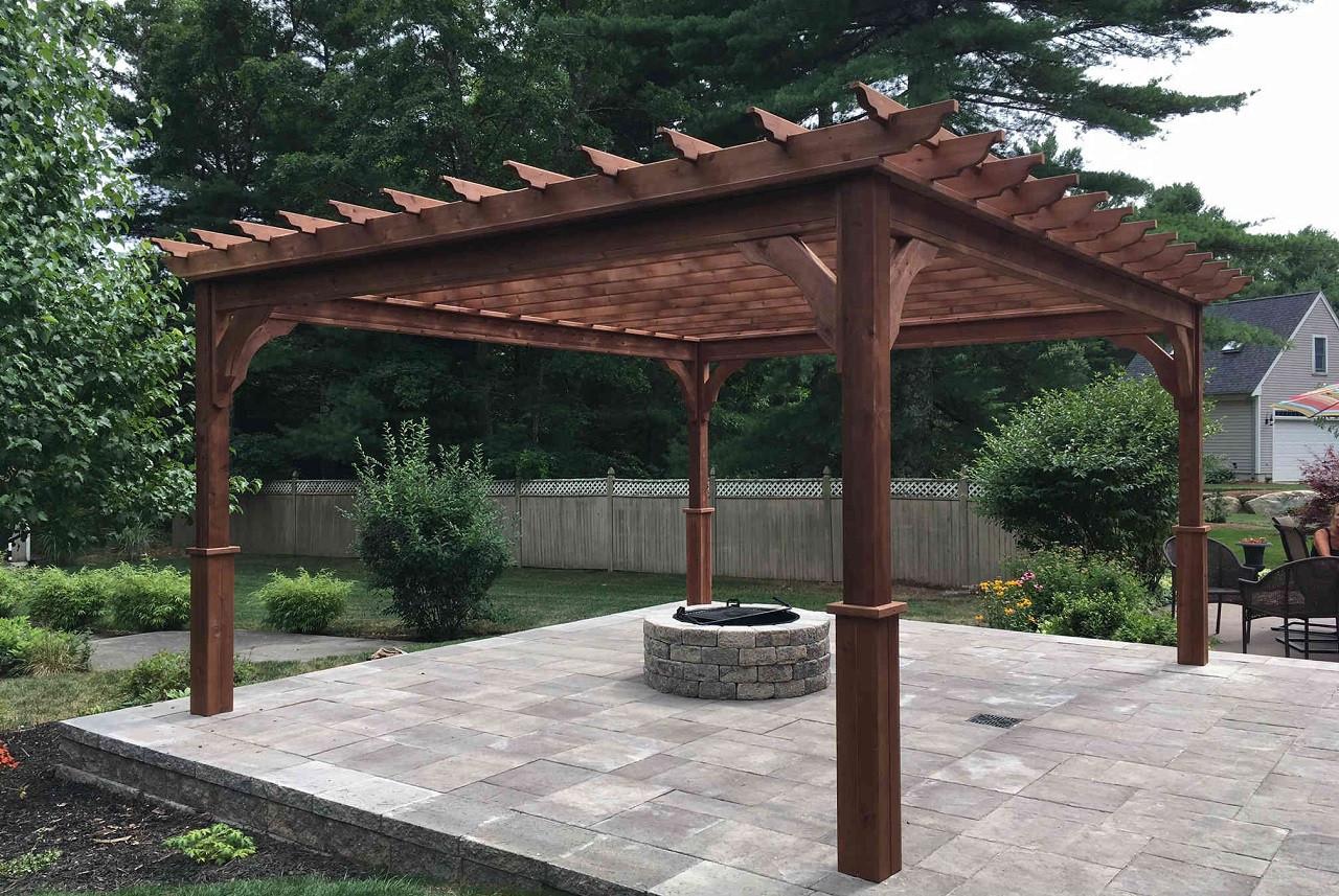 14' x 16' Serenity Pergola Kit / Western Red Cedar / Mahogany Stain / Dartmouth, MA.