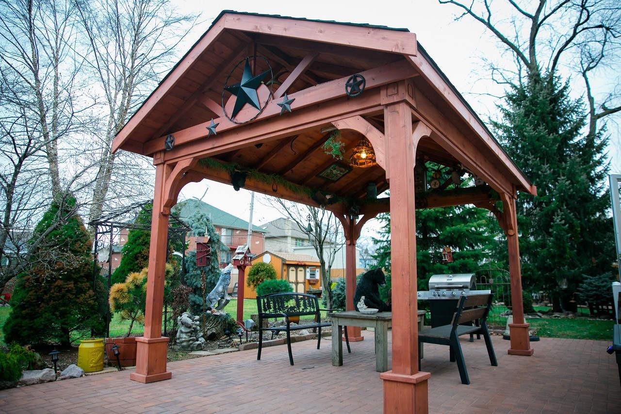 14' x 10' Gabled Pavilion, Western Red Cedar, Rustic Cedar Shingles, Burbank, IL.